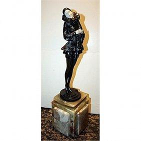 Exceptional Signed Phillipe Bronze & Ox Bone Coy Dancer