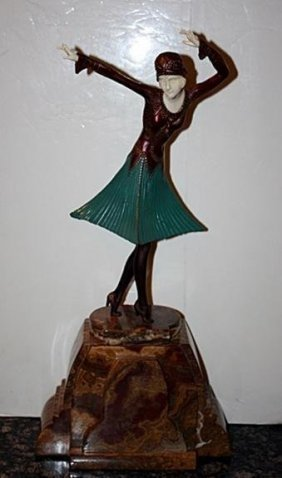 Scarce Signed Chiparus Bronze And Ox Bone - Miro