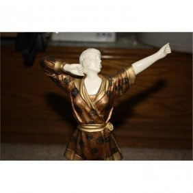 Wonderful Bronze & Ox Bone Art Deco Pajama Chiparus