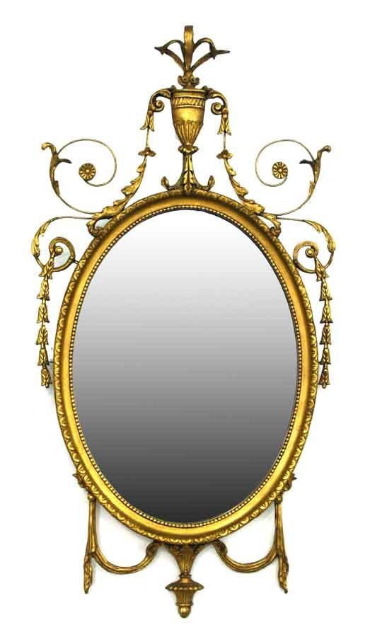 18 robert adam style gilt mirror having urn leaf fl for Adam style mirror