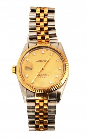 Man's 18kyg And Stainless Rolex Datejust With Champagne