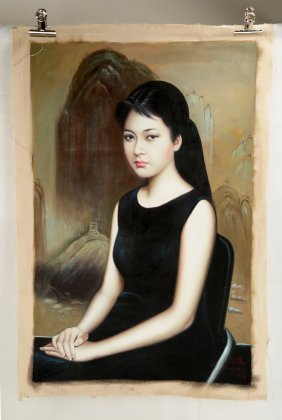 Fine Oil Painting Depicting 'chinese First Lady' Peng