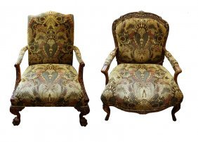 (2) Pair Of King/queen Throne Rococo Arm Chair.