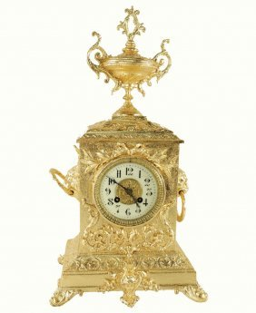 A Bronze Dore Mantle Clock.z018.
