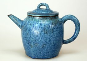 A Clay Jun Glaze Teapot With Lid & Characters.
