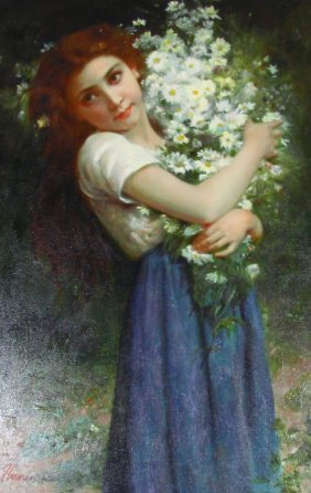 Girl Holding Flowers Painting