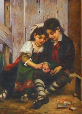 Boy & Girl Sitting Painting