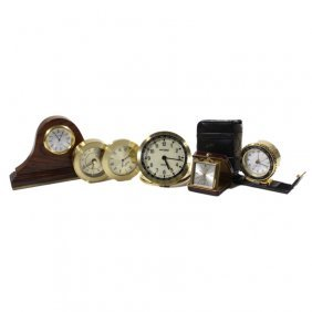 Lot Of 5 Small Travel Clocks