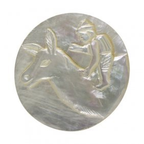 Boy On Llama Mother Of Pearl Button