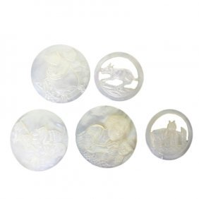 Set Of 19th Cent Cat Theme Mother Of Pearl Buttons