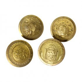 Set Of 4 Post Civil War Era State Militia Buttons