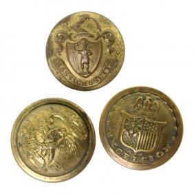 Set Of 3 Civil War Era State Militia Buttons