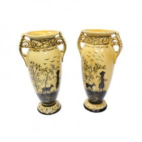 Erphila Girl And Goat Vase Pair