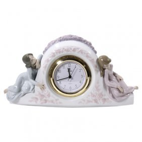 Lladro The Two Sisters 5776 Figural Clock.