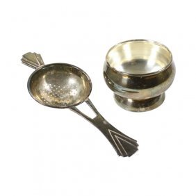 Silver Plate Tea Strainer And Holder
