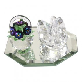 Swarovski Swan And Iris Arc Purple Flower Basket