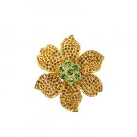 Gold Flower With Rhinestones Brooch