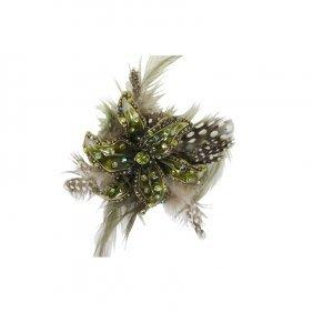 Rhinestone & Feather Flower Brooch