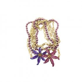 Kenneth J Lane Triple Strand Lily Necklace