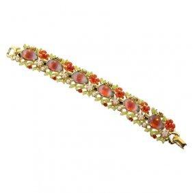 Colored Glass And Rhinestone Bracelet