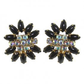 Jett And Rhinestone Earrings