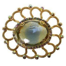 Cut Glass Brooch