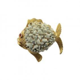 Puffy Fish Pin Brooch