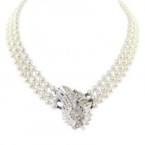 Afj Triple Strand Faux Pearl Necklace