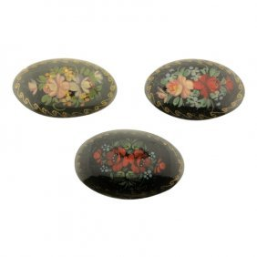 Russian Hand Painted Brooches