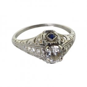Vintage Diamond And Sapphire Ring In Platinum