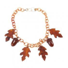 Celluloid Chain Bakelite Leaves Acorns Necklace