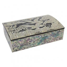 Abalone And Mother Of Pearl Black Lacquered Box