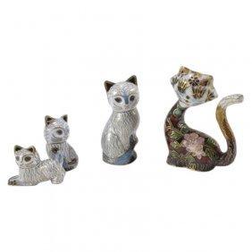 4 Cloisonne Cats