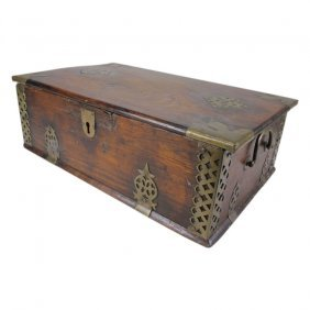 Vintage Wooden With Brass Accent Chest