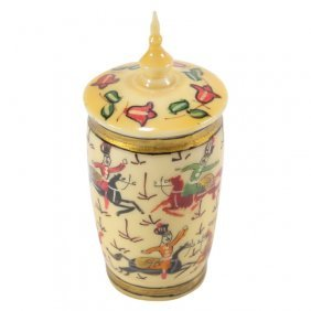 Small Hand Painted Carved Bone Lidded Jar