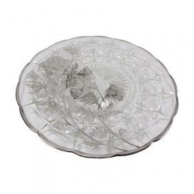 Crystal Platter With Silvertone Floral Overlay