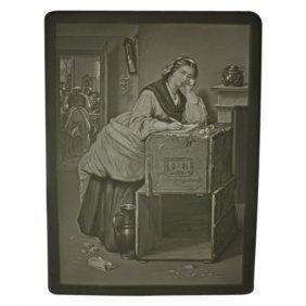 Woman Writing On Trunk Lithophane Panel