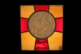 Porcelain Round Lithophane In Stain Glass Madonna
