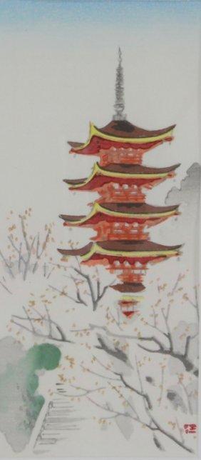 "Japanese Watercolor ""red Pagoda"""