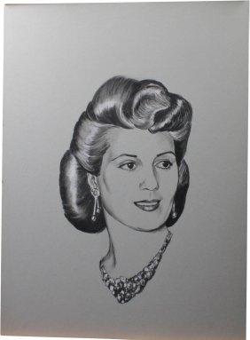 Charcoal And Pencil Portrait Of Evita Peron