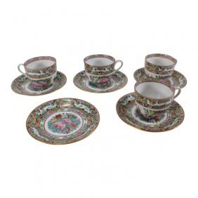 Famille Rose Japanese Cup & Saucers