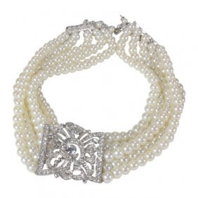 Kenneth J Lane 5 Strand Faux Pearl Necklace