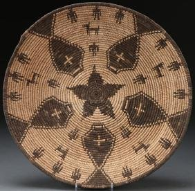 A Good Apache Basketry Woven Tray, Early 20th C