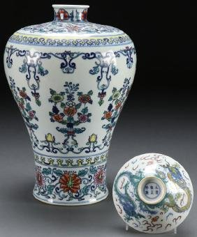 A Chinese Porcelain Wucai Style Vase And Bowl