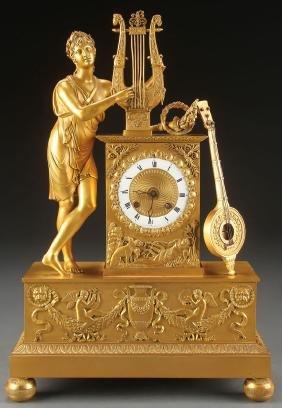 A Fine French Empire Gilt Bronze Mantle Clock