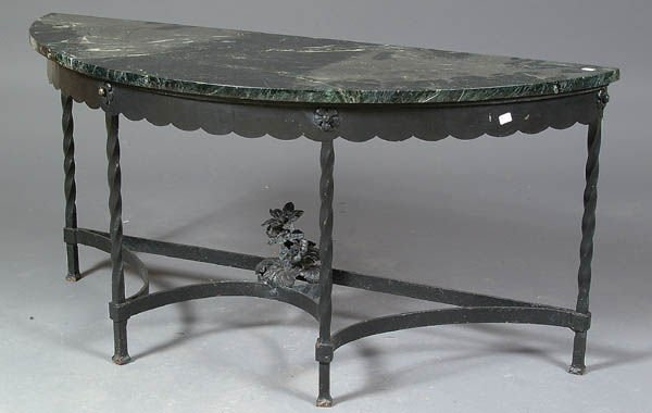 987 a wrought iron and marble top half moon table cir for 1 2 moon table
