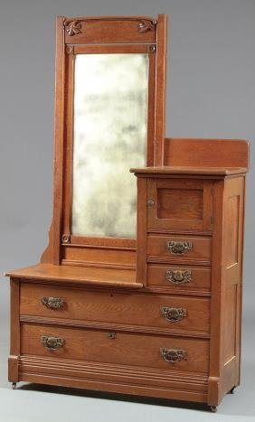 887 A Victorian Oak Gentleman S Dresser With Beveled