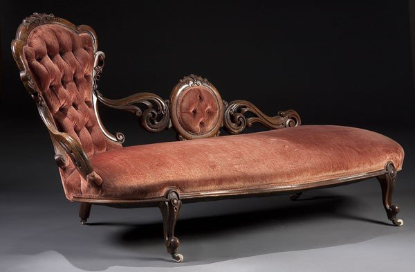 1233 victorian walnut rococo carved chaise lounge lot 1233 for Carved chaise lounge