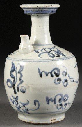 CHINESE BLUE AND WHITE KENDI EWER
