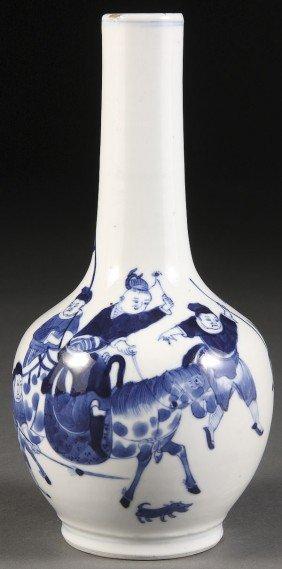 "A CHINESE BLUE & WHITE KANGXI STYLE ""FIGURES"" VASE"